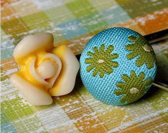 Olive Green and Aqua Floral Fabric and Sunny Yellow Rose Bobby Pin Pair - Springtime in the Garden