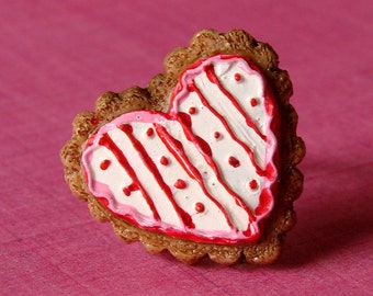 Miniature Faux Food Adjustable Ring - Sweet Stripes & Dots Iced Heart Cookie