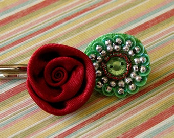 Gorgeous Green Gem and Ruby Red Satin Rose Bobby Pin Pair