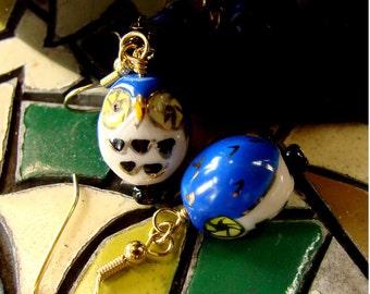 Owl Dangly Earrings - Royal Blue Porcelain Hootie-Hooooos