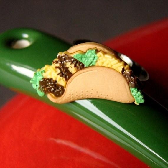 Taco Ring - Adjustable Taco Ring - Miniature Food Jewelry - Miniature Food Ring - Taco Jewelry - Mexican Ring -Holy Guacamole... It's a Taco