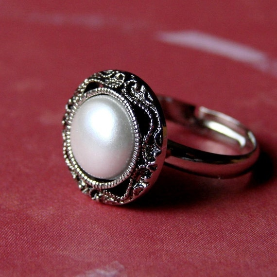 "Faux Pearl Ring - Adjustable ""Pearl"" Ring - Vintage Style Faux Pearl Ring - Wedding - Simple and Chic Pearl Antiqued Silver Adjustable Ring"