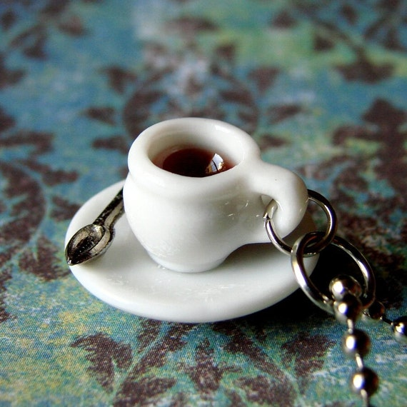 Miniature Coffee Cup Necklace - Tiny Little Spot of Coffee (or tea, if you prefer)