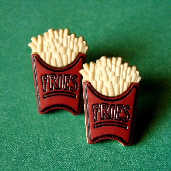Miniature Box of French Fries Earrings - Fries to go with that Shake