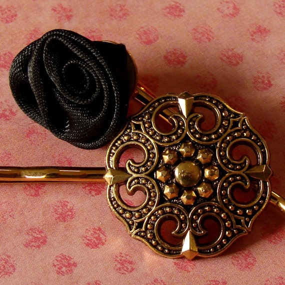 Beautiful Black and Gold Bobby Pin Pair - Victorian Elegance