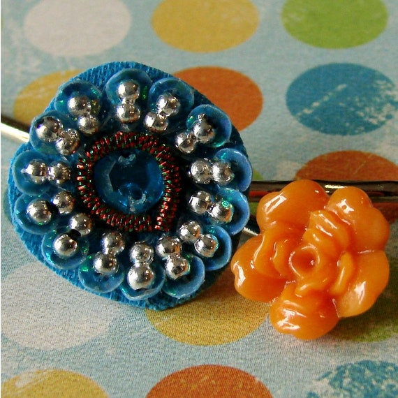 Tropical Teal and Orange Bobby Pin Pair - Caribbean Dream