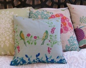 Birds and berries japanese import linen/cotton blend pillow cover - 15x15""
