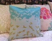 "Birds flying high japanese import linen/cotton blend pillow cover - 15x15"""