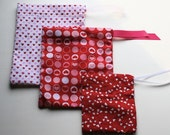 Eco-Friendly Reusable Fabric Holiday Gift Bag- Set of 3- Valentines Day