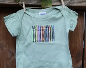 Crayons- Green Lap T-shirt with 12 Colorful Crayons- 12 months