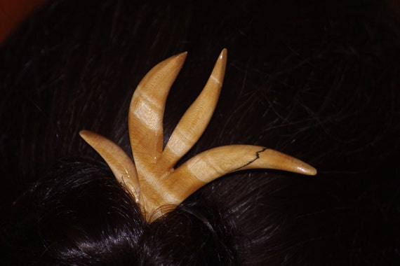 Very Ugly Maple Burl Flower Hair stick Free US Shipping