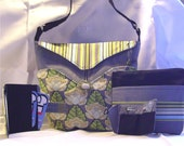 SALE price includes shipping Bag 100 Gray bag with Amy Butler highlights, card wallet, zipper pouch, sewing kit