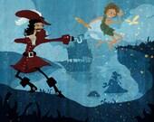 Peter and Hook print of original children's book illustration