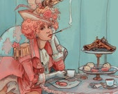 Tea for Two french revolutionary steampunk illustration print