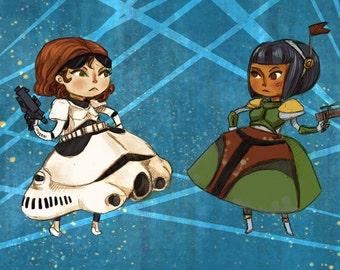 Fancy Dress Storm Trooper and Boba Fett Girls