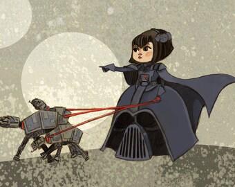 Lady Vader Star Wars Fancy Dress 5x7 art print