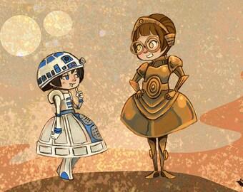 Droidettes Fancy Dress Star Wars inspired illustration print