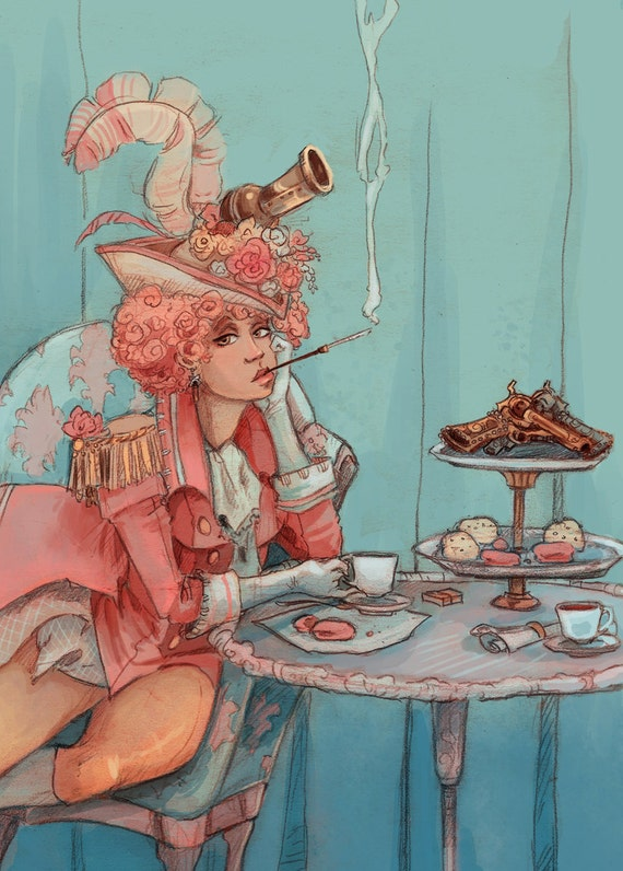 Tea for Two french revolutionary steampunk illustration mini print