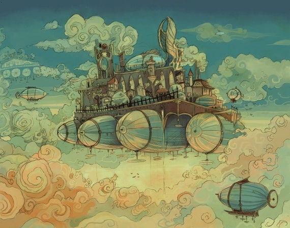 Pontoonia Skybase steampunk airship illustration poster