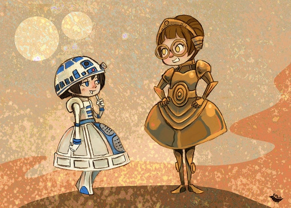 Droidettes Fancy Dress Star Wars inspired illustration print