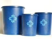 Vintage Kitchenware - Cobalt Blue Tupperware Canister Trio