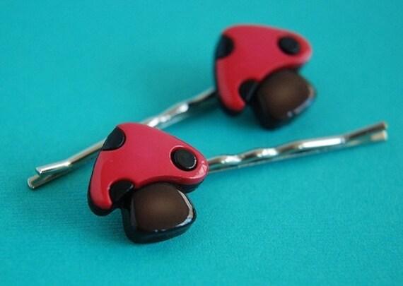 Chunky Pink and Brown Mushroom Bobby Pin Pair