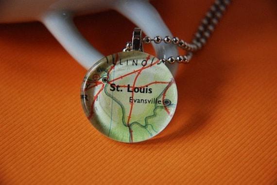 Vintage Map Necklace - St. Louis, Missouri