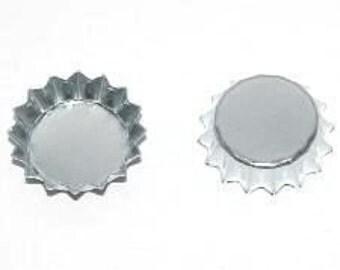 100 Mini Chrome Bottle Caps .5 inch Small Miniature Bottlecaps Baby Cap