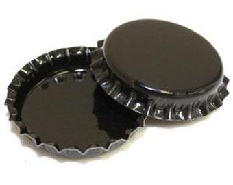 50 Black ON BOTH SIDES Blank Bottlecaps Bottle Cap Bottlecap Caps Colored Embellishment Halloween Craft