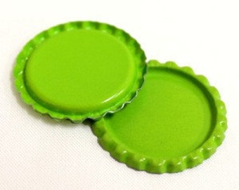 50 Flattened Lime Green ON BOTH SIDES Bottlecaps Bottle Cap Flat Bottlecap Caps Smashed Silver Blank Embellishment Craft
