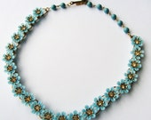 Vintage Baby Blue  Flowers and Rhinestone Necklace
