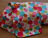 Receiving blanket and 2 matching burp cloths with retro DOTS