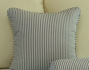 Cottage Ticking Stripe Throw Pillow Cover - 18x18 Navy, Black or Grey