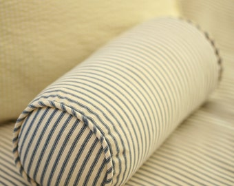 "Ticking Stripe Bolster Pillow with Insert 6""x12"" - Black, Navy, Red, Grey, Brown"