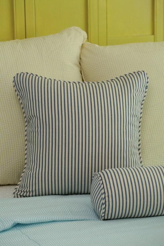 Etsy Throw Pillow Sets : Cottage Ticking Stripe Throw Pillow Cover 18x18 Navy Black