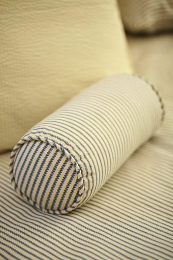 Decorative Bolster Pillow Black : Ticking Stripe Bolster Pillow with Insert 6 x 12 Black