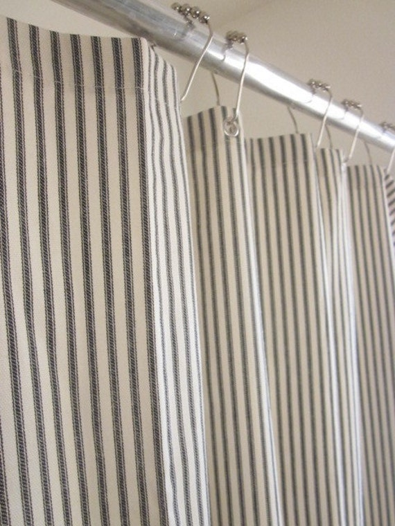 Nautical Ticking Stripe Grommeted Shower Curtain IN STOCK Dark