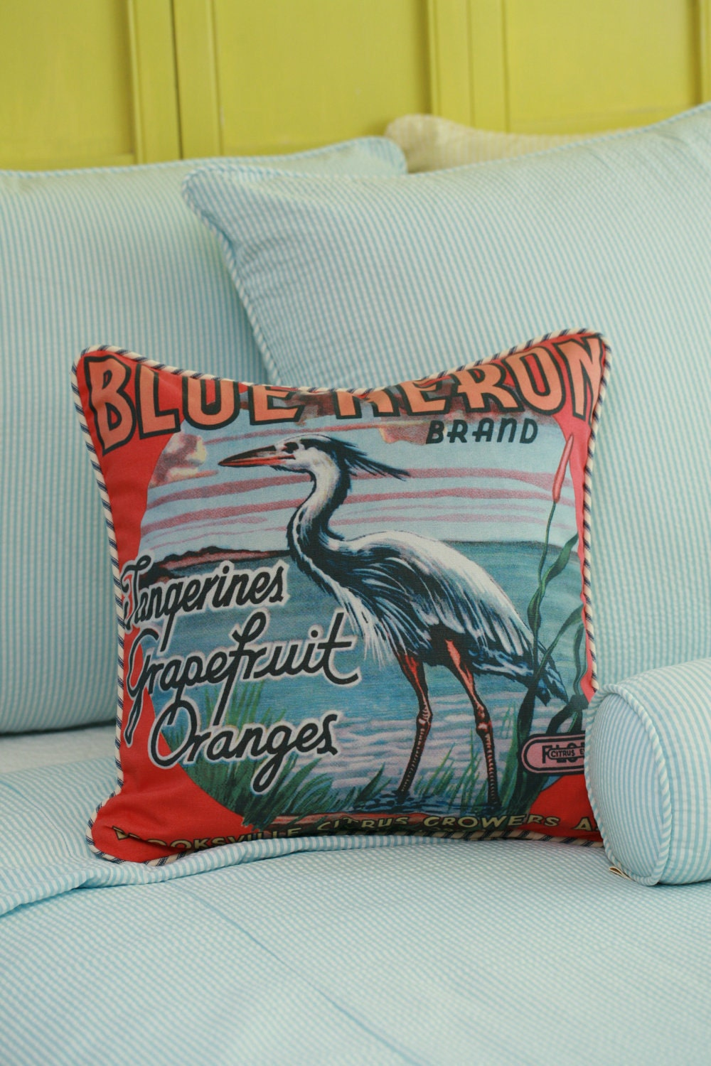 Blue Heron Throw Pillows : Blue Heron Throw Pillow Cover Insert Available 18x18 Beach