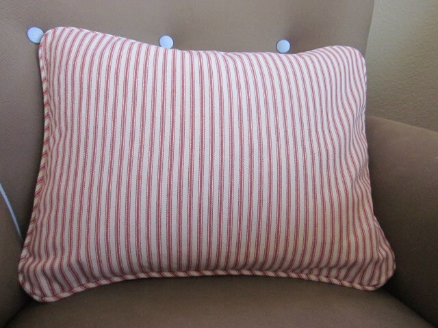 Cotton Cranberry Red Ticking Stripe Throw Pillow 13x17 With