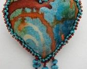 Southwestern Turquoise Heart Pin (Made to Order) Take orders to make similar heart.