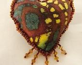 HEART PIN-Batik Fabric-OOAK