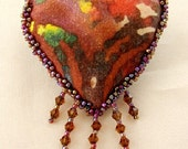 HEART PIN-Batik, Swarovski Crystals and Glass Seed Beads-OOAK (Made to Order by request)