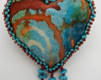 Southwest Style Turquoise Heart Pin ( (Similar Heart Made to Order by Request)