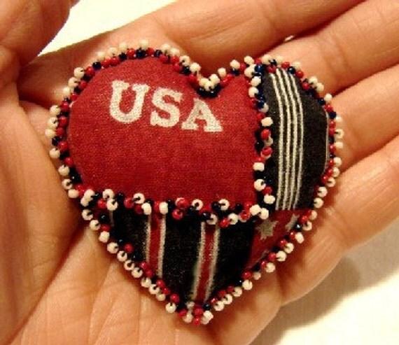 USA Heart Pin