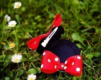 Minnie Mouse Ear Hair Clips...with bows...Custom Sewn...size Small...You Pick Her Bow Color...Small, Large Available Kids gifts