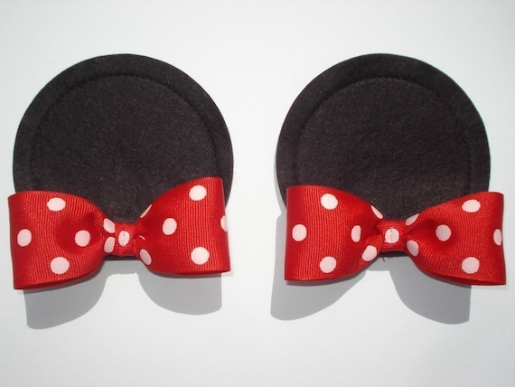 MINNIE MOUSE BOW EARS on hair clips...Custom Sewn...dOuBle bow style...size LARGE...YOU PICK HER BOW COLOR