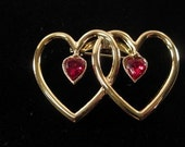Beautiful Vintage Goldwash Double Heart Pin with Red Rhinestone Centers