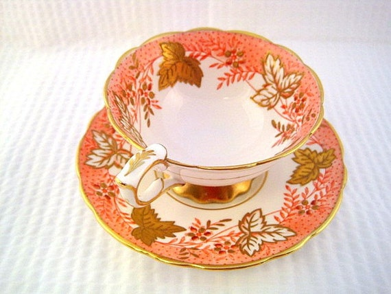 Gold Leaf Berry Royal Stafford Cup and Saucer
