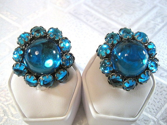 Out of this World De Mario NY Blue Cabochon  Clip On Earrings- free US shipping