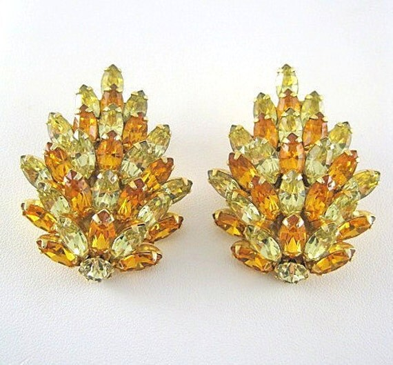 Kramer of New York Large Yellow And Citrine Color Marquise Rhinestone Clip on Earings